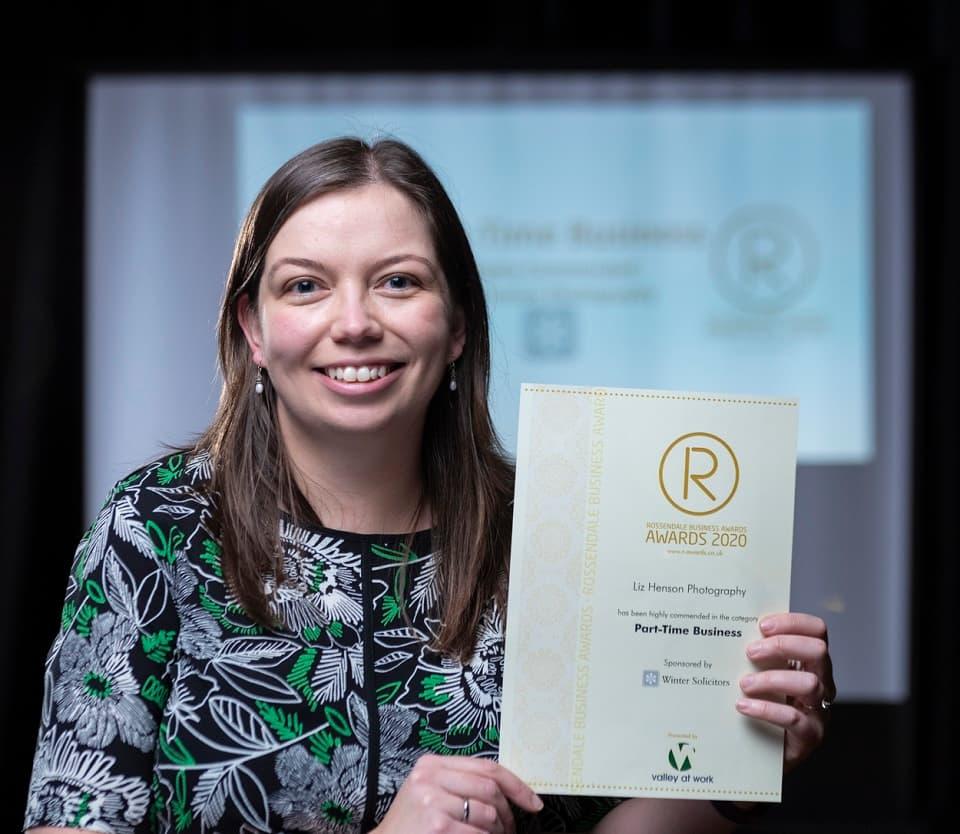 Liz Henson Photographer winning Rossendale Business Award